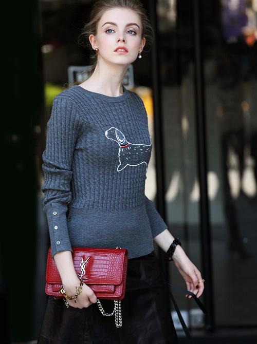 여성의류쇼핑몰 뉴욕스캔들입니다 명품스타일수입보세 꽈배기 니트 울 티셔츠 - 웹